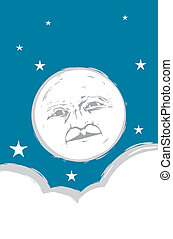 Moon Face #2 - Moon face in the sky with clouds and stars.
