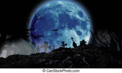Moon flickers brightly with lightning and the silhouettes of crosses and dears are visible.