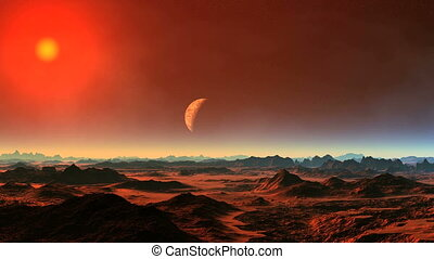 Moon Flying Over Alien Planet
