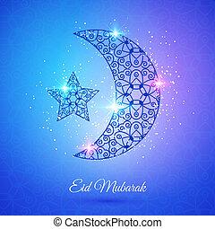 Moon for Muslim community festival Eid Mubarak - Greeting...