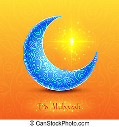 Moon for Muslim Community Festival Eid Mubarak on Colorful...