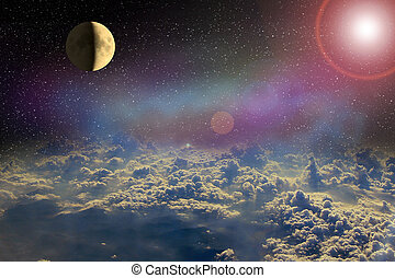 Moon glowing in open space above clouds of Earth. Cosmic...