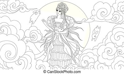 Moon goddess - Chiness moon goddess with cute rabits for ...