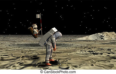 Astronaut playing golf on the moon with his robot caddy.
