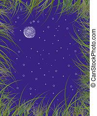 Moon Grass Sky Background design
