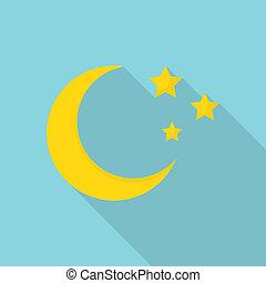 Moon icon, flat style