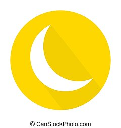 Moon icon, logo. Made with long shadow style, on yellow circle. Isolated vector illustration