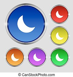 moon icon sign. Round symbol on bright colourful buttons. Vector