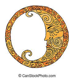 Moon illustration - Orange Moon illustration on white...