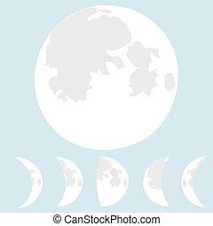 Moon illustration, phases moon.