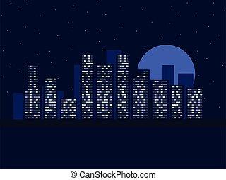 moon., illustration, windows., étoilé, dusk., vecteur, lumière, vue, ciel nuit, ville, cityscape