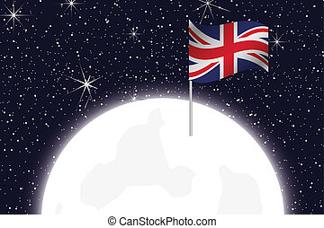 Moon Illustration with the Flag of United Kingdom