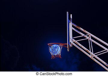 moon in a basketball hoop.