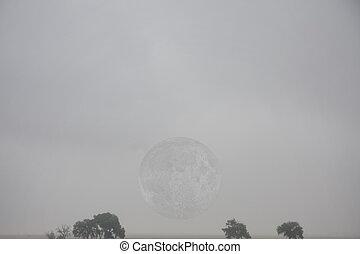 Moon in fog