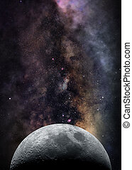 Image of half moon and bright star clouds of Milky Way