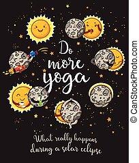 Moon is doing yoga. Solar eclipse cartoon characters