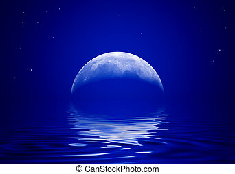 Moon is reflected in a wavy water