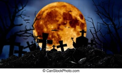 Moon is shining in the cemetery where there are crosses and...
