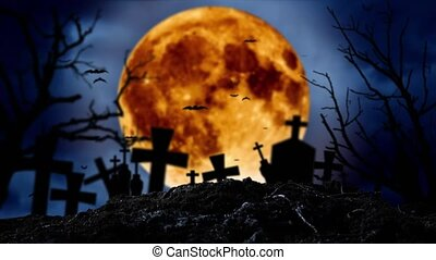 Moon is shining in the cemetery where there are crosses and bats fly