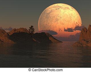 Moon Island Lake - Moon island lake illustration with a lone...
