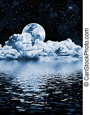 Moon Lake - The moon setting over clouds and water with...