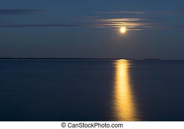 Moon landscape over lake