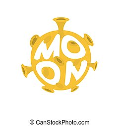 Moon lettering. Yellow Planet of solar system on white background
