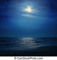 moon light in dark blue sky over sea