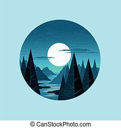 Moon Light Mountains Vector