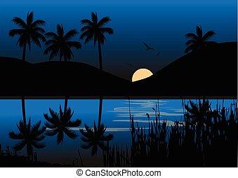 Moon light over lake background