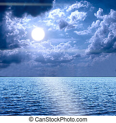 Moon light over the Middle of The Ocean