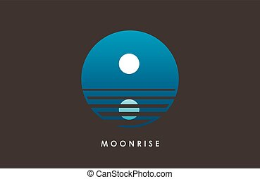 Moon logo design. Creative moon logo. Night logo. Full moon.