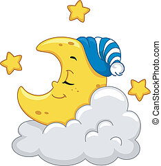 Moon Mascot - Mascot Illustration Featuring a Sleeping Moon