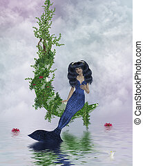 Moon Mermaid - Mermaid sitting on a vined moon above water