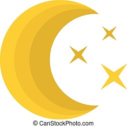 Moon night icon, flat style
