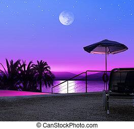 resort - Moon night on beach of Greece, luxurious resort