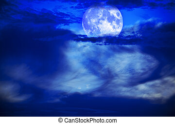 moon night with beautiful sky and clouds