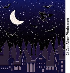 Moon night with flying sexy witch silhouette, seamless pattern, vector illustration