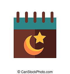 moon night with star in calendar flat style icon
