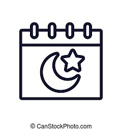 moon night with star in calendar line style icon