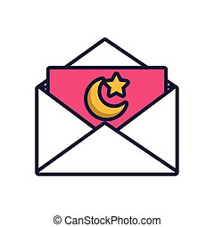 moon night with star in envelope fill style icon