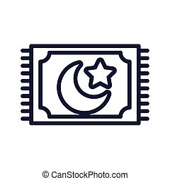moon night with star in magic carpet line style