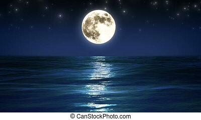 moon., noc, morze, looped., sky.
