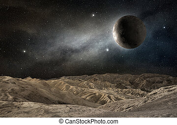 moon on a desert landscape in a starry night