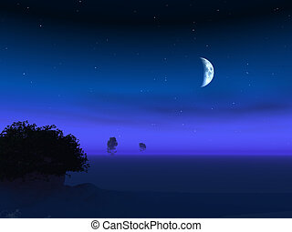 Moon on Horizon Dusk - Night moon over a foggy horizon dusk...