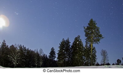 Moon on the background of a winter landscape. Zoom. Time Lapse