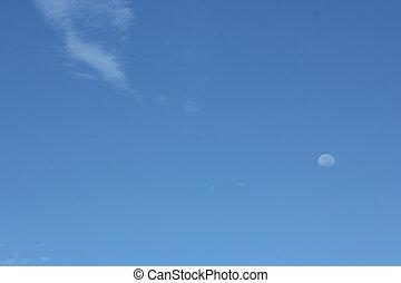 moon on the blue sky