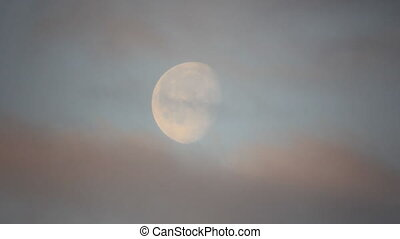 Moon on the morning mist sky