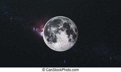 Moon Orbit Floodlight Surface Milky Way Background. Planet Side Zoom in Dark Outer Space Star Galaxy Cosmos Constellation Exploration Concept 3D Animation 4k. Elements of this Media Furnished by NASA