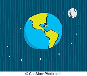 Cartoo illustration of moon orbiting the earth